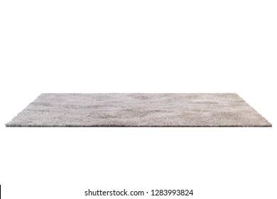 Modern rectangular light brown rug with high pile on white background. 3d render