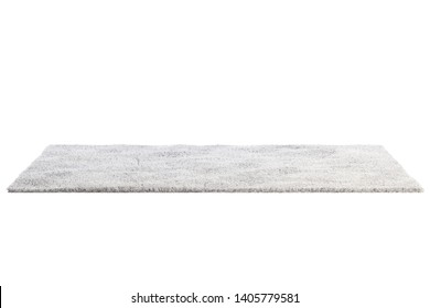 Modern rectangular light gray rug with high pile on white background. 3d render