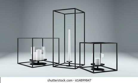 Modern rectangular metal framed Candle Holders wrought iron in black color with White Candles. Decoration. 3D Rendering. Studio Render