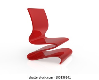Modern Red Acrylic Curved Chair on a white background