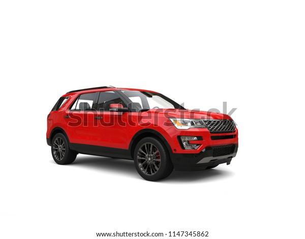 Modern red big SUV - 3D Illustration