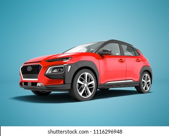 Modern red car crossover in front 3d render on blue background with shadow