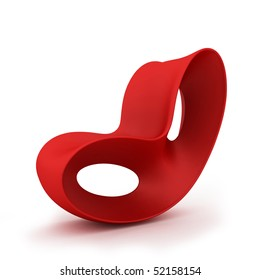 Modern red chair isolated on a white background
