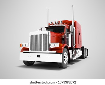 Modern red dump truck for transportation of trailers 3d render on gray background with shadow