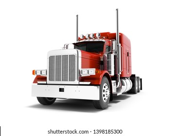 Modern red dump truck for transportation of trailers 3d render on white background with shadow