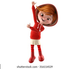 Modern Red Riding Hood, 3D girl in a red sweatshirt, blonde teenager, blank white isolated on white background, smiling, cheerful corporate mascot, baby figure, baby items, clothing