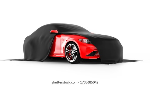 Modern red sports car presentation with black cloth: 3D illustration