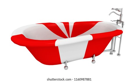 Modern red white striped bathtub isolated on white background Computer generated 3D illustration