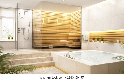 Modern relaxation room and steam room in a big house. 3D rendering
