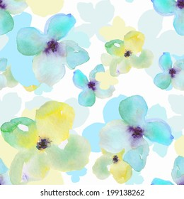 Modern Repeating Watercolor Flower Pattern