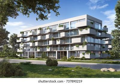 Modern residential; 3D render, 3D illustration; 300 dpi