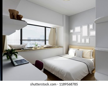 Modern residential bedroom design, 3D rendering