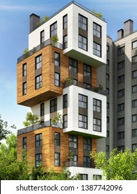 Modern residential building in the city. Beautiful modern architecture. 3d rendering