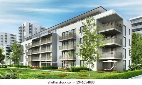 Modern residential buildings in the city. 3D rendering