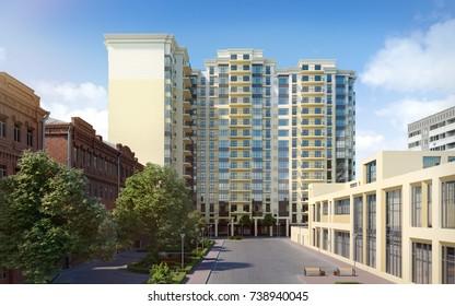 Modern residential complex; 3D render, 3D illustration; 300 dpi
