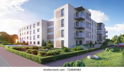 Modern residential complex for young families,3D render, 3D illustration; 300 dpi
