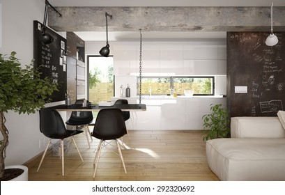 Modern and retro dining room and kitchen interior (3 d render using 3 d s max)