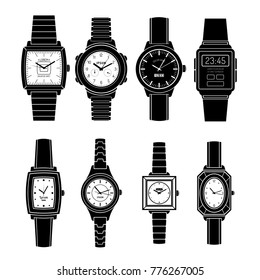 Modern and retro popular watches styles sets black icons collection with mechanical automatic and quartz isolated  illustration