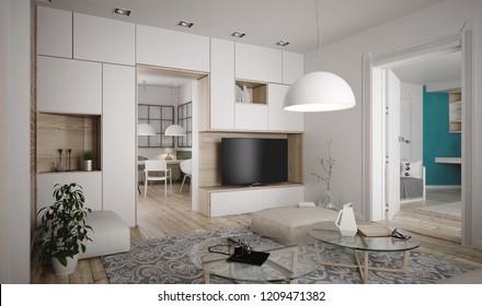 Modern retro styled living room interior - 3 d render
