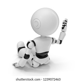 Modern Robot Isolated 3D Illustration On White Background