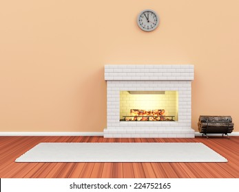 Modern Room 3D Interior with Burning Fireplace