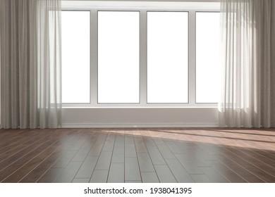 modern room with curtains interior design. 3D illustration
