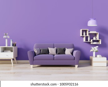 Modern room have purple sofa in open space with lamp and cabinet have wall ultra violet color of the year 2018 ,3D rendering