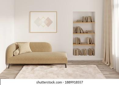 Modernes Zimmer mit einem horizontalen Poster über einer Couch mit Kissen, einer Nische mit Büchern, einem Fenster mit Vorhängen, einem flauschigen Teppichboden auf einem Holzboden. Vorderseite. 3D-Darstellung
