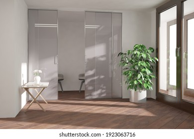 modern room with plant,pot, armchairs and table with white vase interior design. 3D illustration