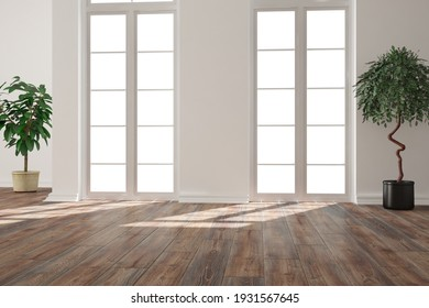 modern room with plants interior design. 3D illustration