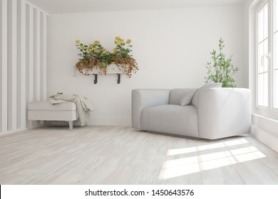 modern room with pouf with plaid,armchairs and plants interior design. 3D illustration