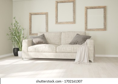 modern room with sofa,pillows,plaid,frames interior design. 3D illustration