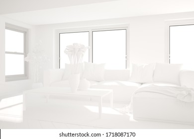 modern room with sofa,pillows,plaid,table and plants interior design. 3D illustration