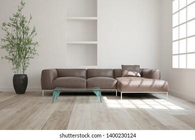 modern room with sofa,table,magazines and plants in pots interior design. 3D illustration