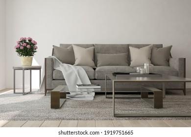 modern room withsofa,pillows,plaid,table,books,plant interior design. 3D illustration