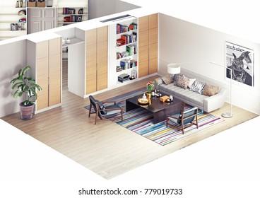 modern rooms isometric view. 3D rendering