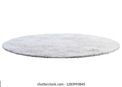 Modern round light gray rug with high pile on white background. 3d render