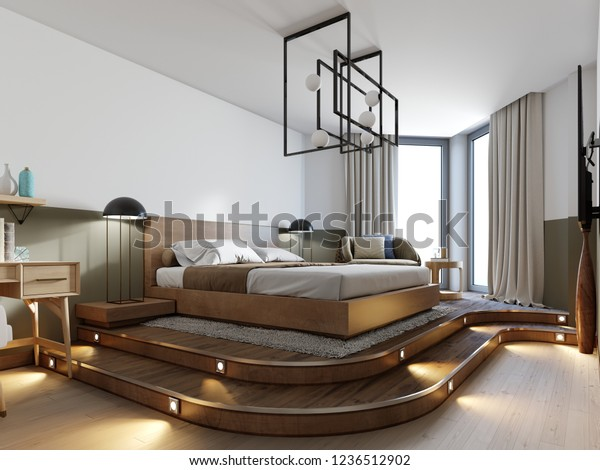 Modern Rustic Bedroom Design Bed On Stock Illustration 1236512902