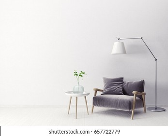 modern scandinavian  interior.  3d render. high resolution, lamp