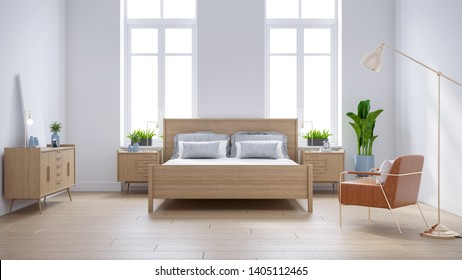 Modern scandinavian  interior of Bedroom ,wood bed and bedside table on white with  leather armchair wall and wood floor ,3d render
