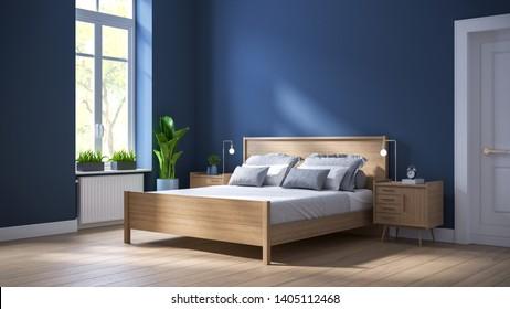 Modern scandinavian  interior of Bedroom ,wood bed and bedside table on dark blue wall and wood floor ,3d render