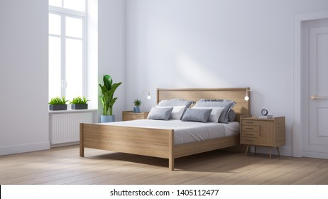 Modern scandinavian  interior of Bedroom ,wood bed and bedside table on white wall and wood floor ,3d render