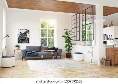 modern scandinavian living room design. 3d concept illustration