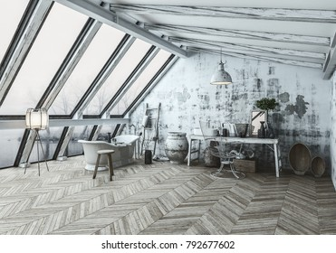 Modern Scandinavian style bathroom interior with an eclectic collection of collectibles and herringbone wood floor in a converted attic. 3d rendering