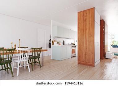 modern scandinavian style  interior. 3d rendering design