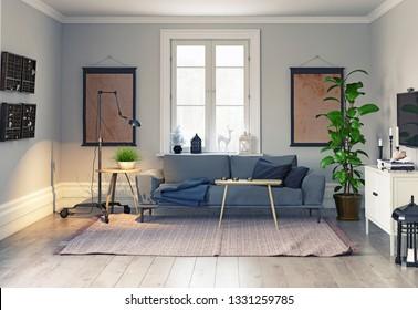 modern scandinavian style interior design. 3d illustration concept
