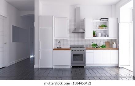 modern scandinavian style kitchen interior. 3d rendering design