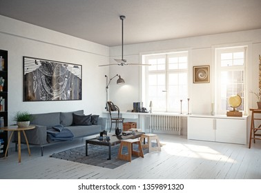 modern scandinavian style living room interior design. 3d illustration concept
