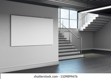 Modern school corridor interior with empty banner on wall. Advertisement concept. Mock up, 3D Rendering