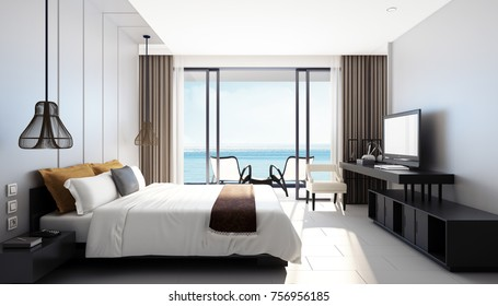 Modern sea view bedroom / 3D rendering